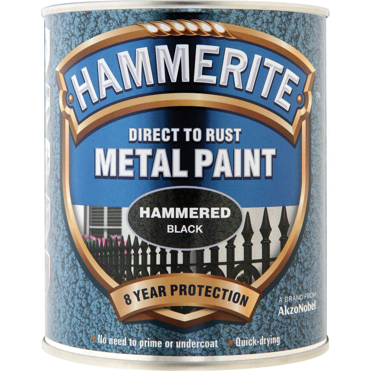 Image of Hammerite Hammered Finish Metal Paint Black 750ml