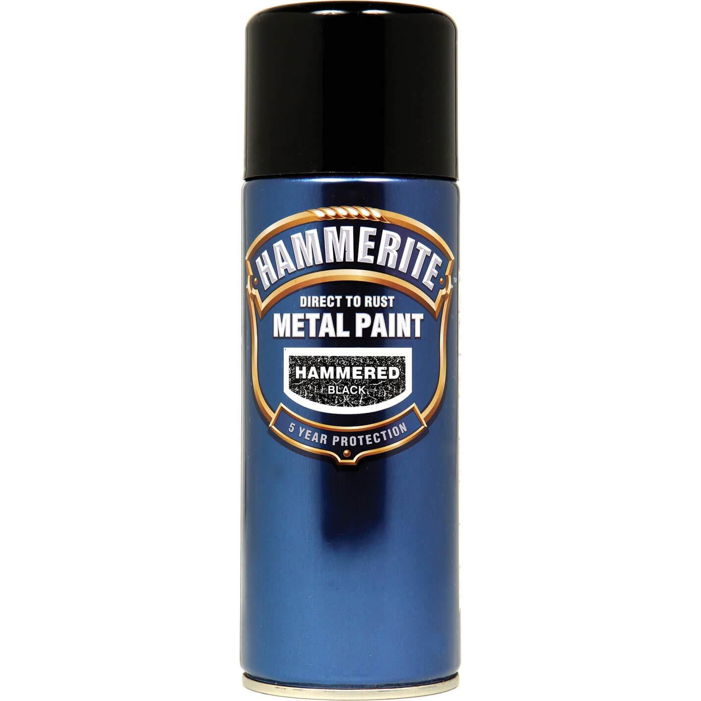 Image of Hammerite Hammered Finish Metal Paint Aerosol Black 400ml