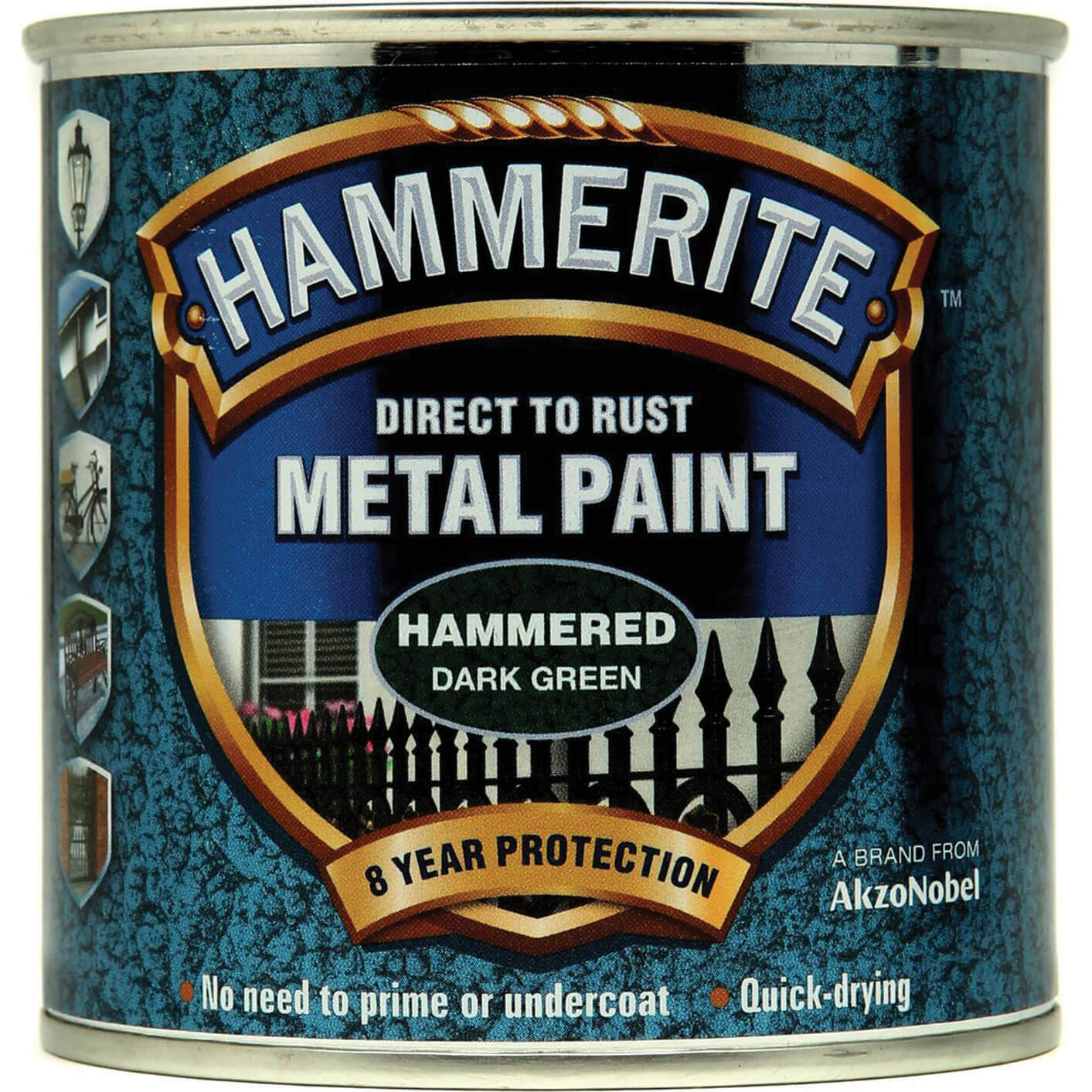 Image of Hammerite Hammered Finish Metal Paint Dark Green 250ml