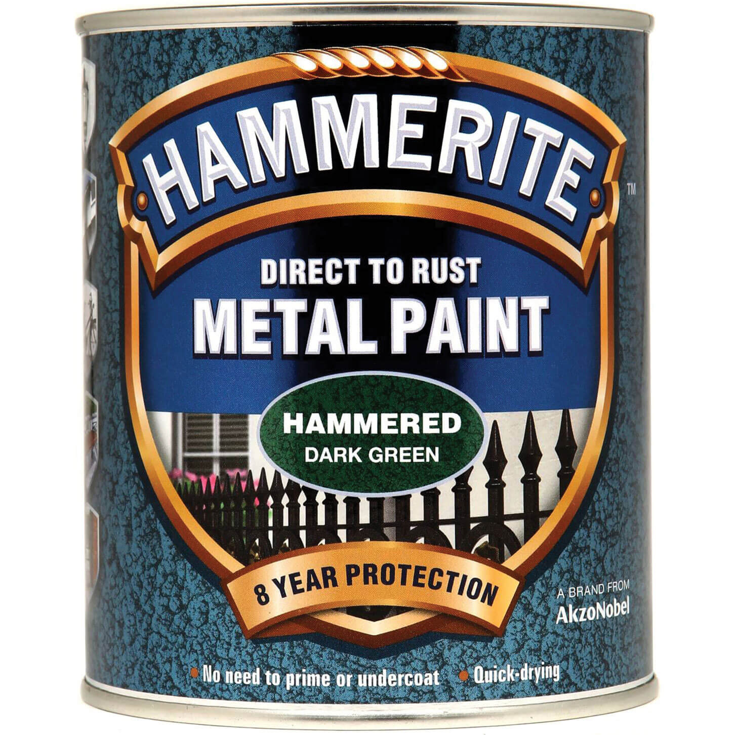 Image of Hammerite Hammered Finish Metal Paint Dark Green 750ml