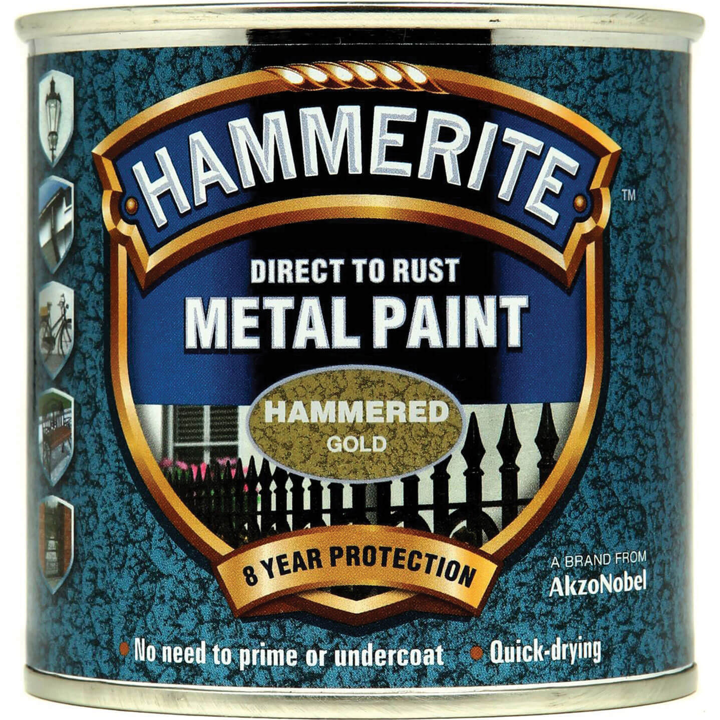 Image of Hammerite Hammered Finish Metal Paint Gold 250ml