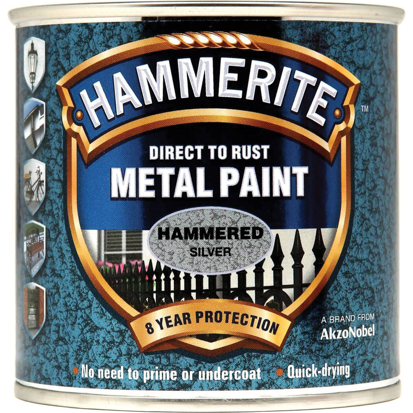 Image of Hammerite Hammered Finish Metal Paint Silver Grey 250ml