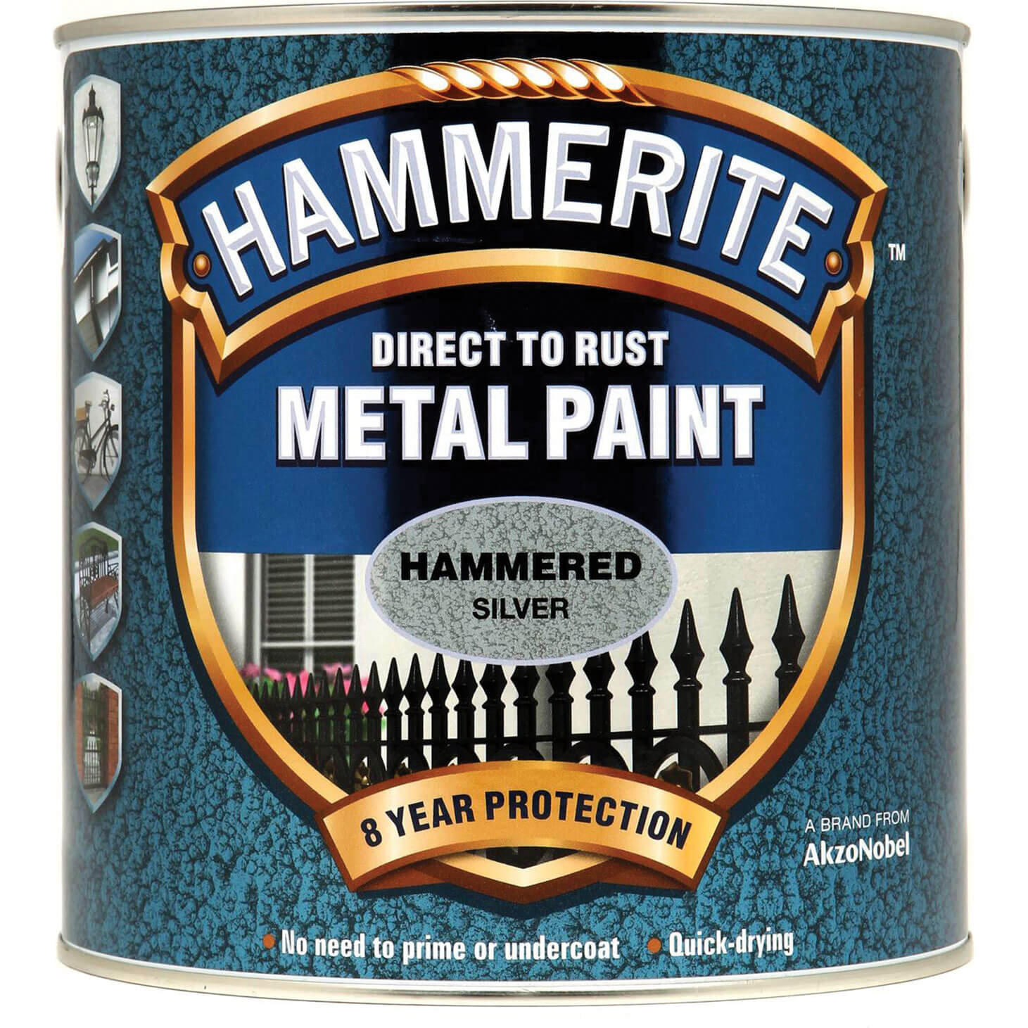 Image of Hammerite Hammered Finish Metal Paint Silver 2500ml