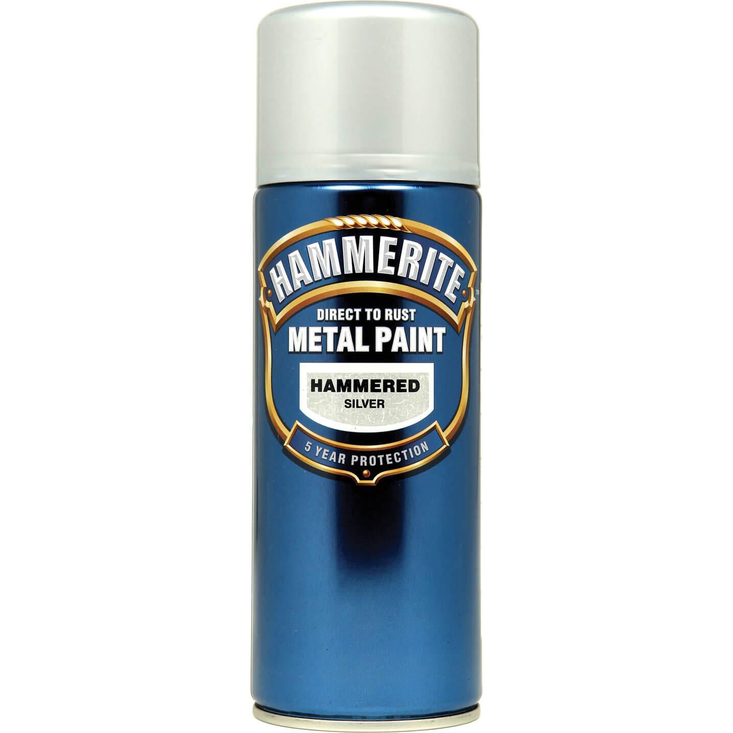 Image of Hammerite Hammered Finish Metal Paint Aerosol Silver Grey 400ml