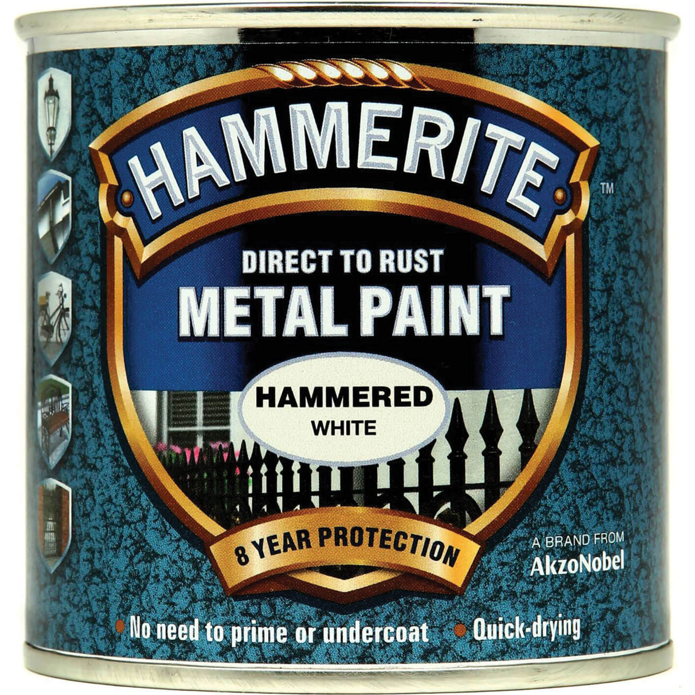 Image of Hammerite Hammered Finish Metal Paint White 250ml
