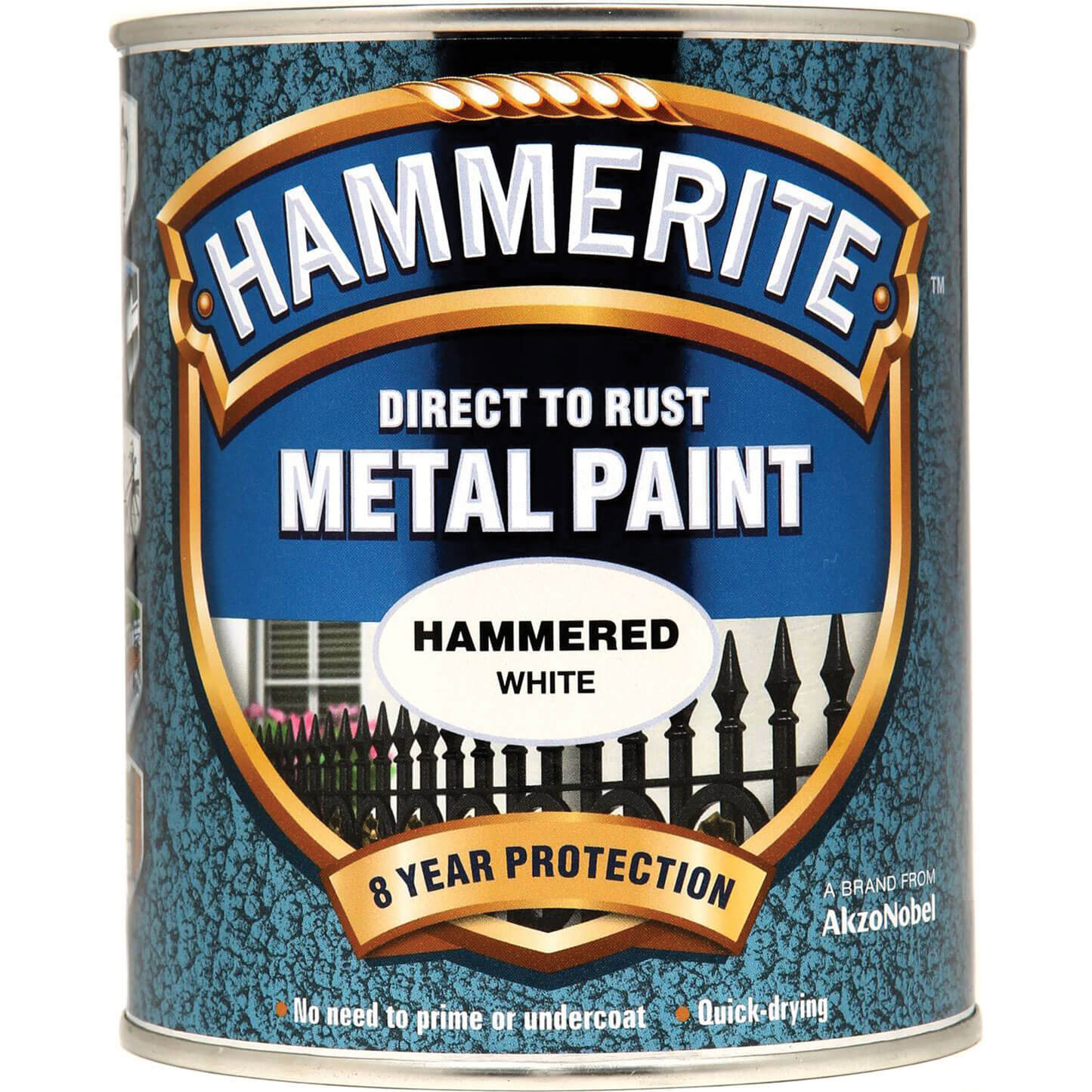Image of Hammerite Hammered Finish Metal Paint White 750ml
