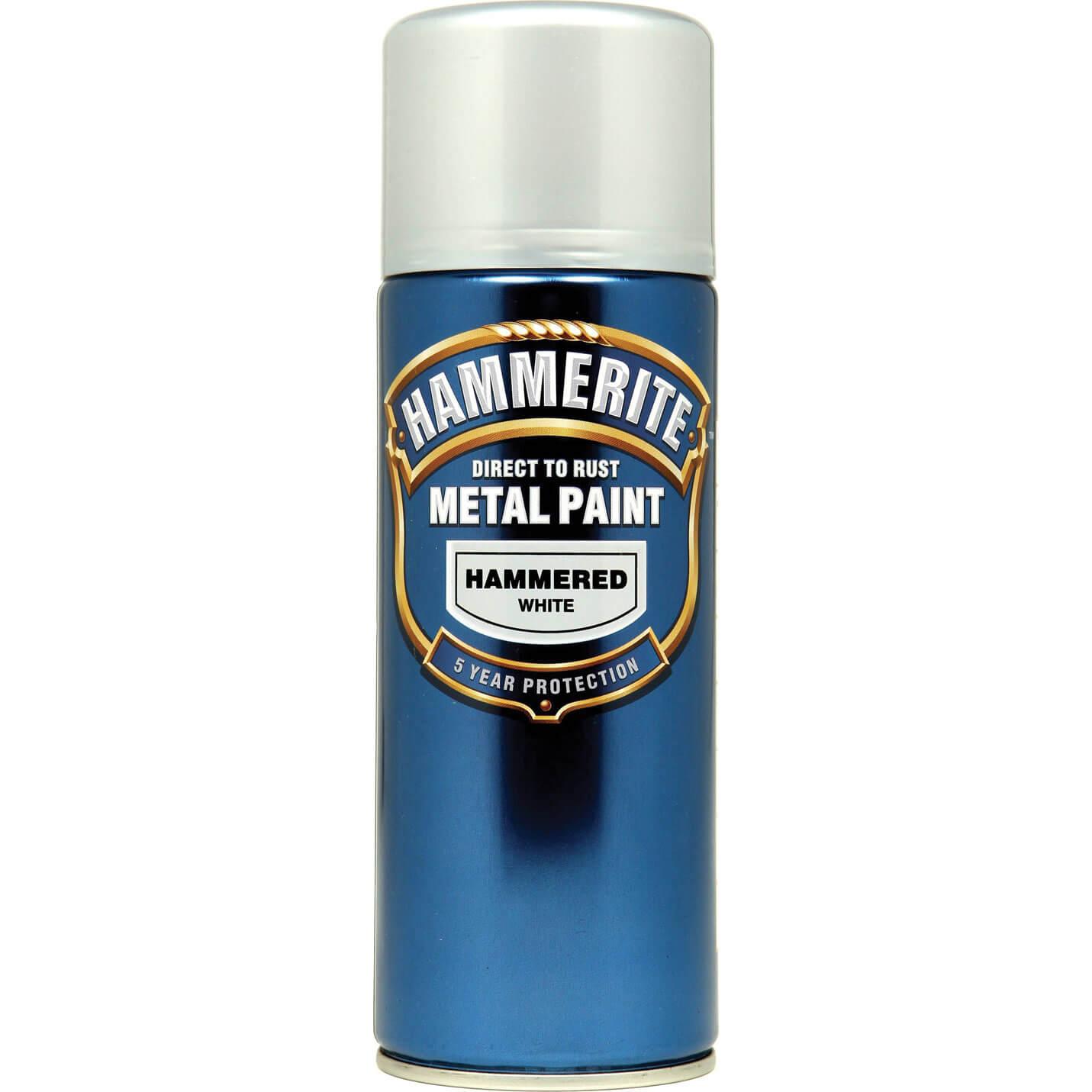 Image of Hammerite Hammered Finish Metal Paint Aerosol White 400ml
