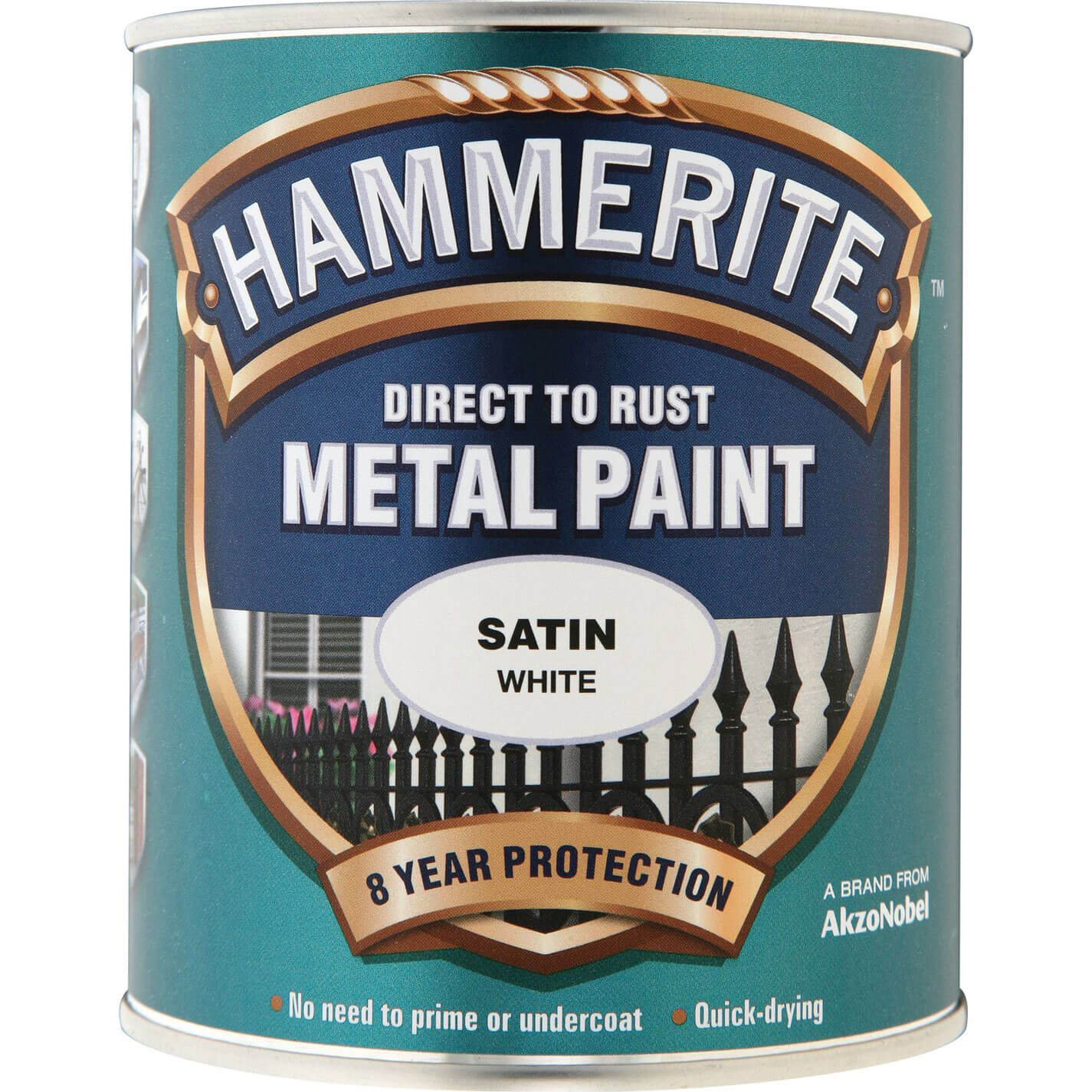 Image of Hammerite Satin Finish Metal Paint White 750ml