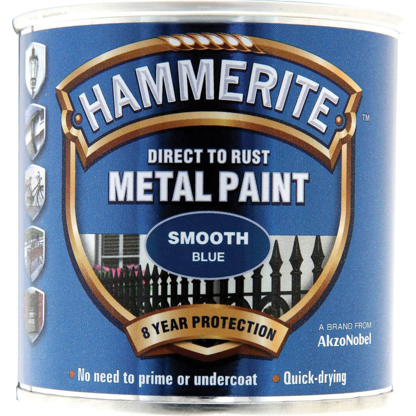 Image of Hammerite Smooth Finish Metal Paint Blue 250ml