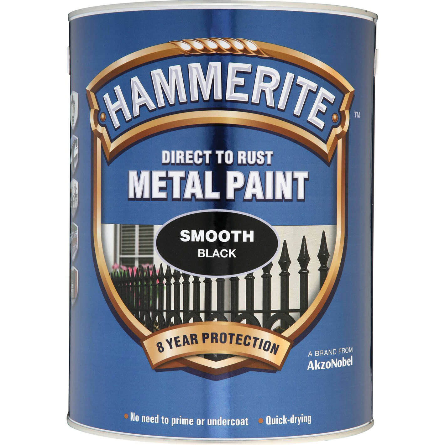 Image of Hammerite Smooth Finish Metal Paint Black 5000ml