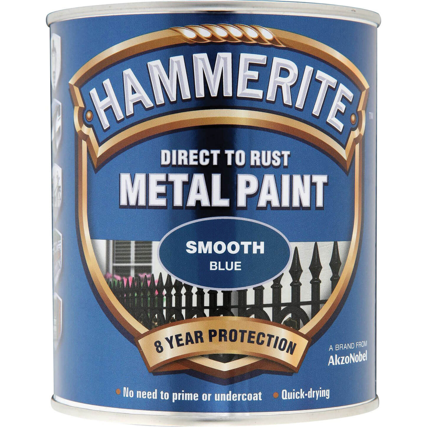 Image of Hammerite Smooth Finish Metal Paint Blue 750ml