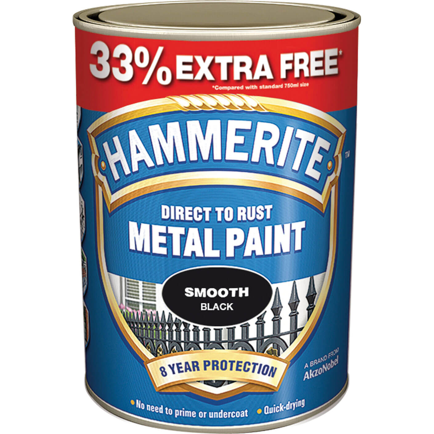 Image of Hammerite Smooth Finish Metal Paint Black 997ml