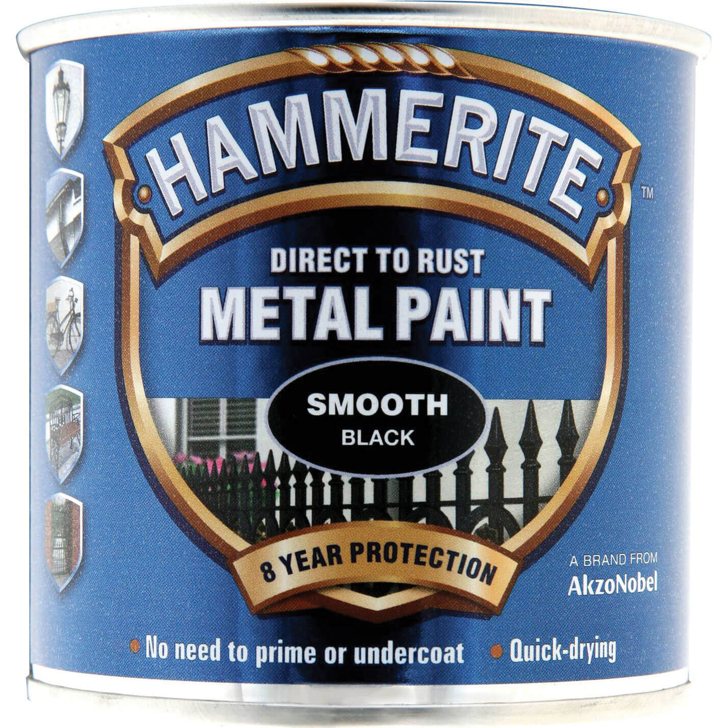 Image of Hammerite Smooth Finish Metal Paint Black 250ml