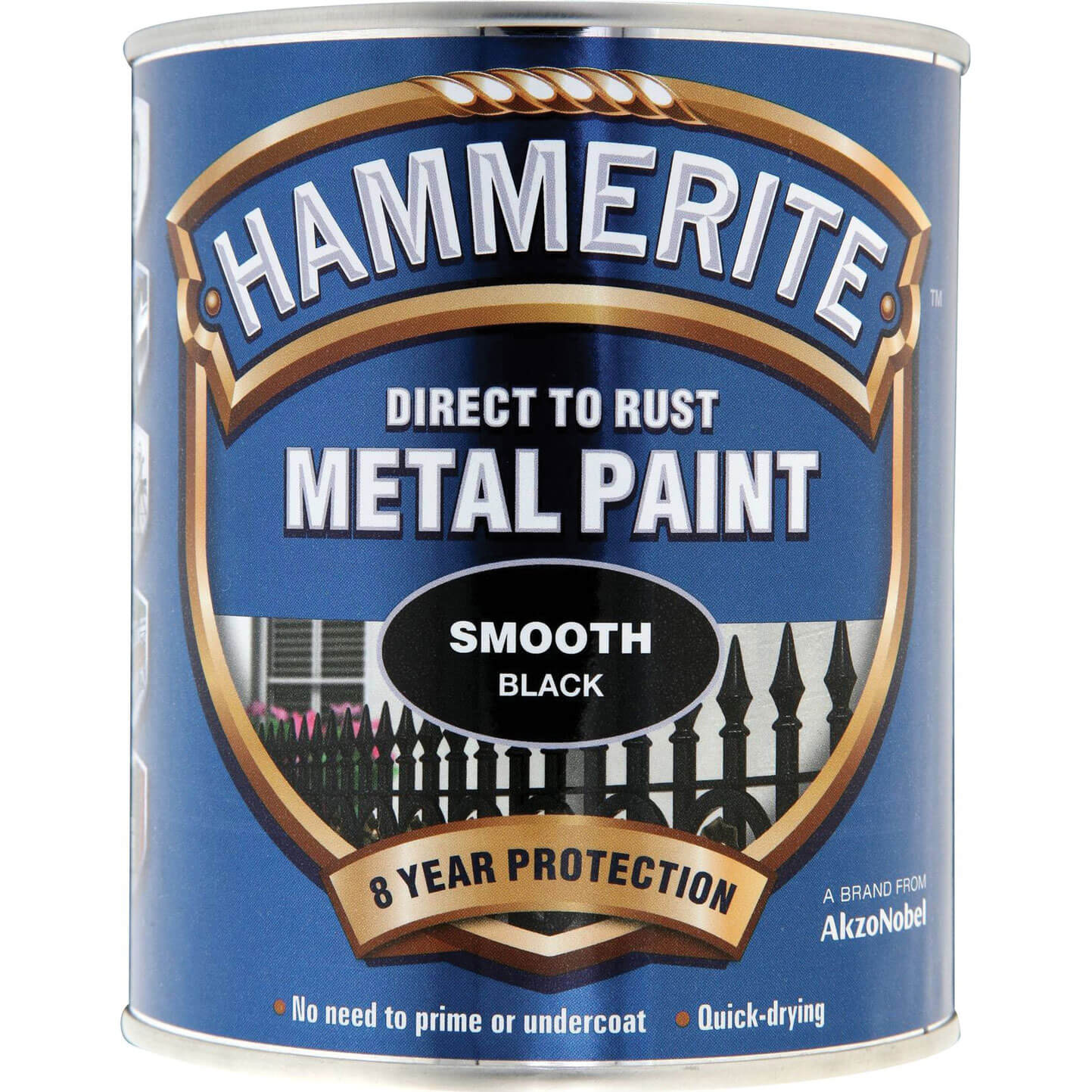 Image of Hammerite Smooth Finish Metal Paint Black 750ml