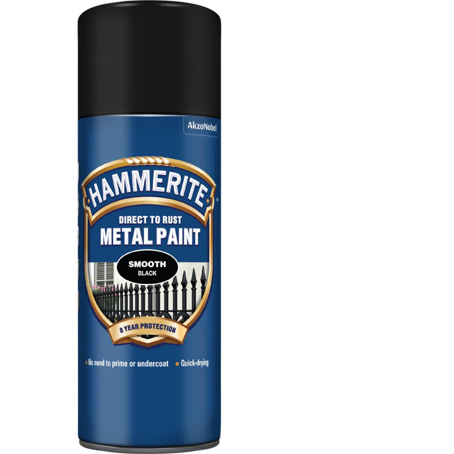 Image of Hammerite Smooth Finish Aerosol Metal Paint Black 400ml