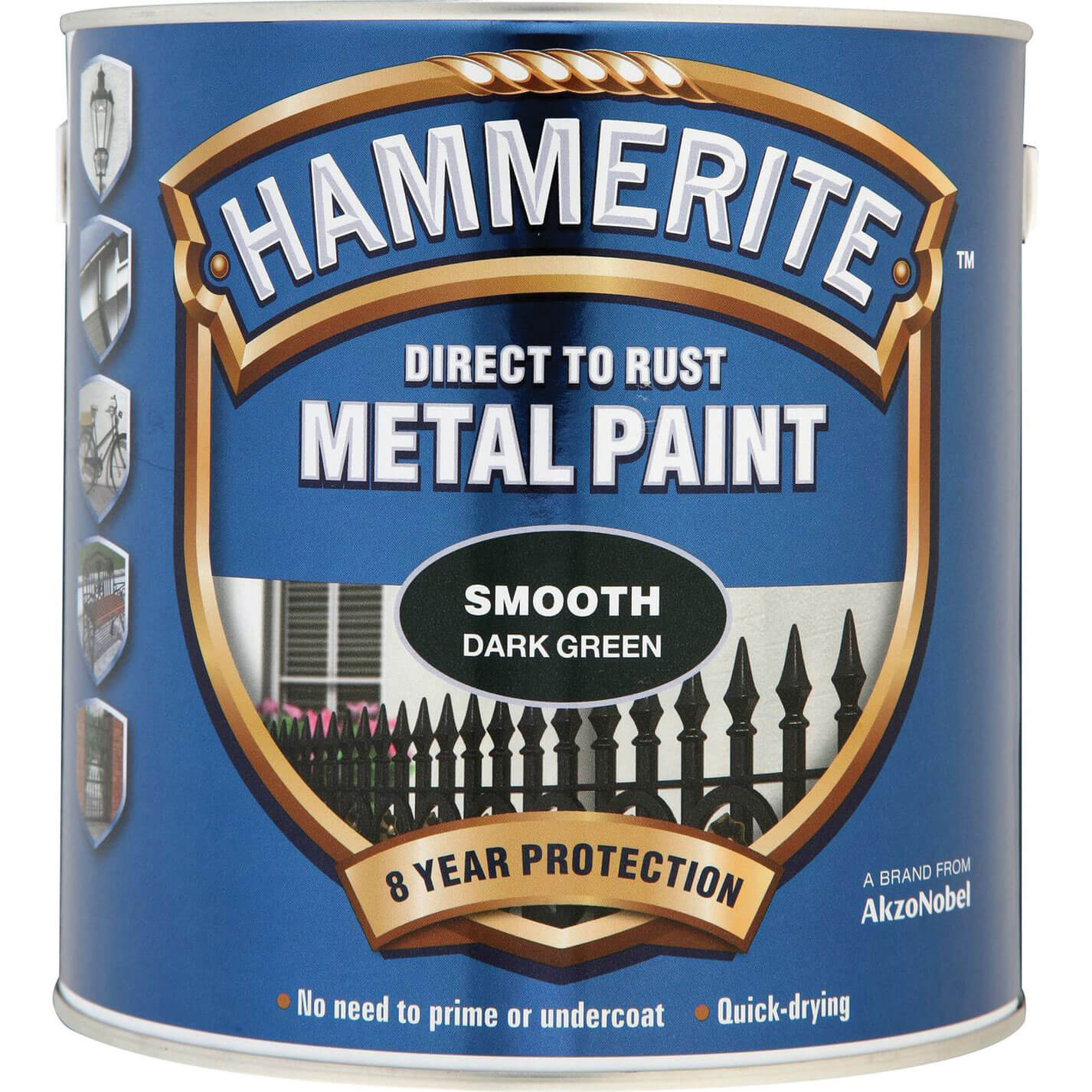 Image of Hammerite Smooth Finish Metal Paint Dark Green 2500ml