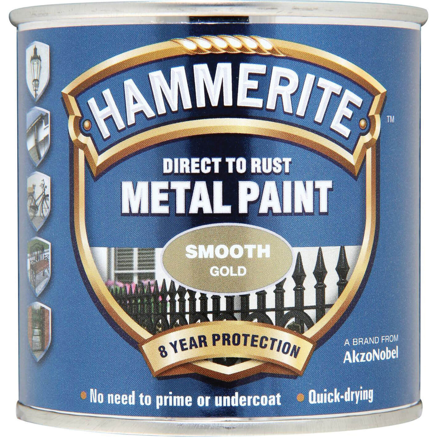 Image of Hammerite Smooth Finish Metal Paint Gold 250ml