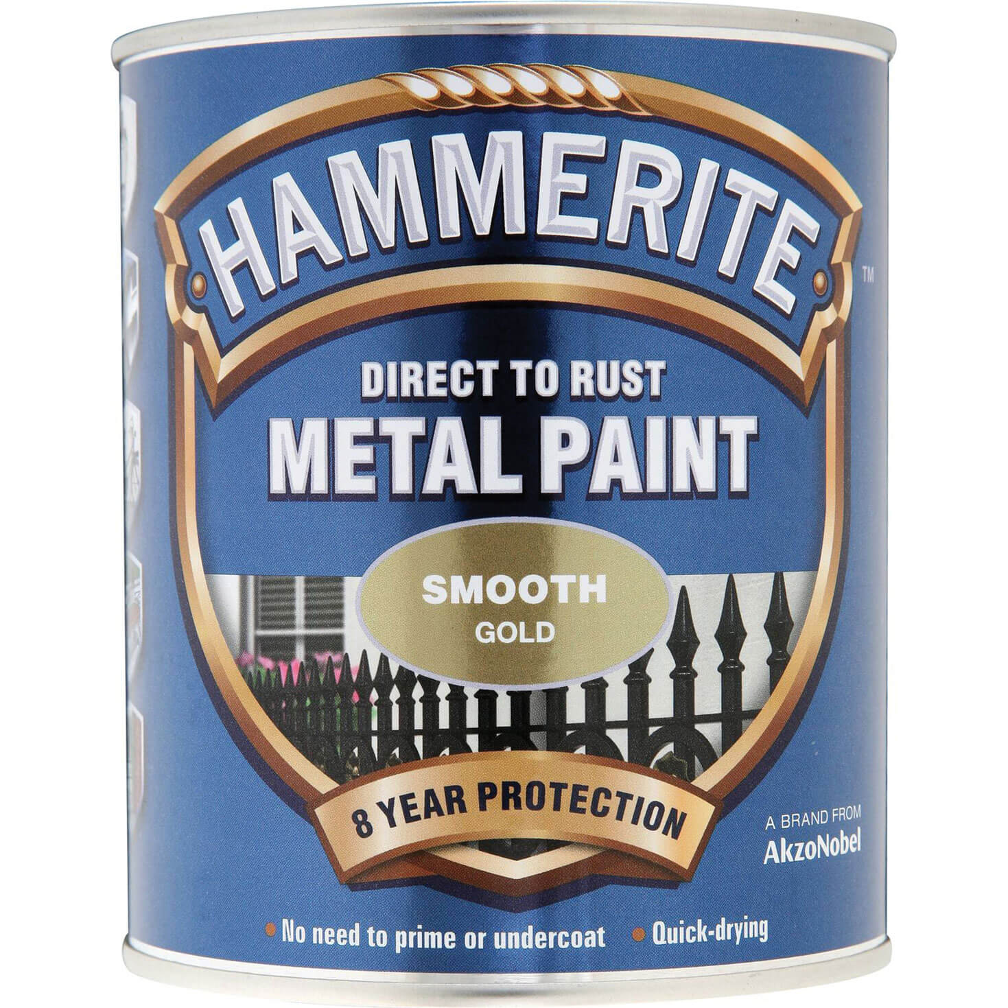 Image of Hammerite Smooth Finish Metal Paint Gold 750ml