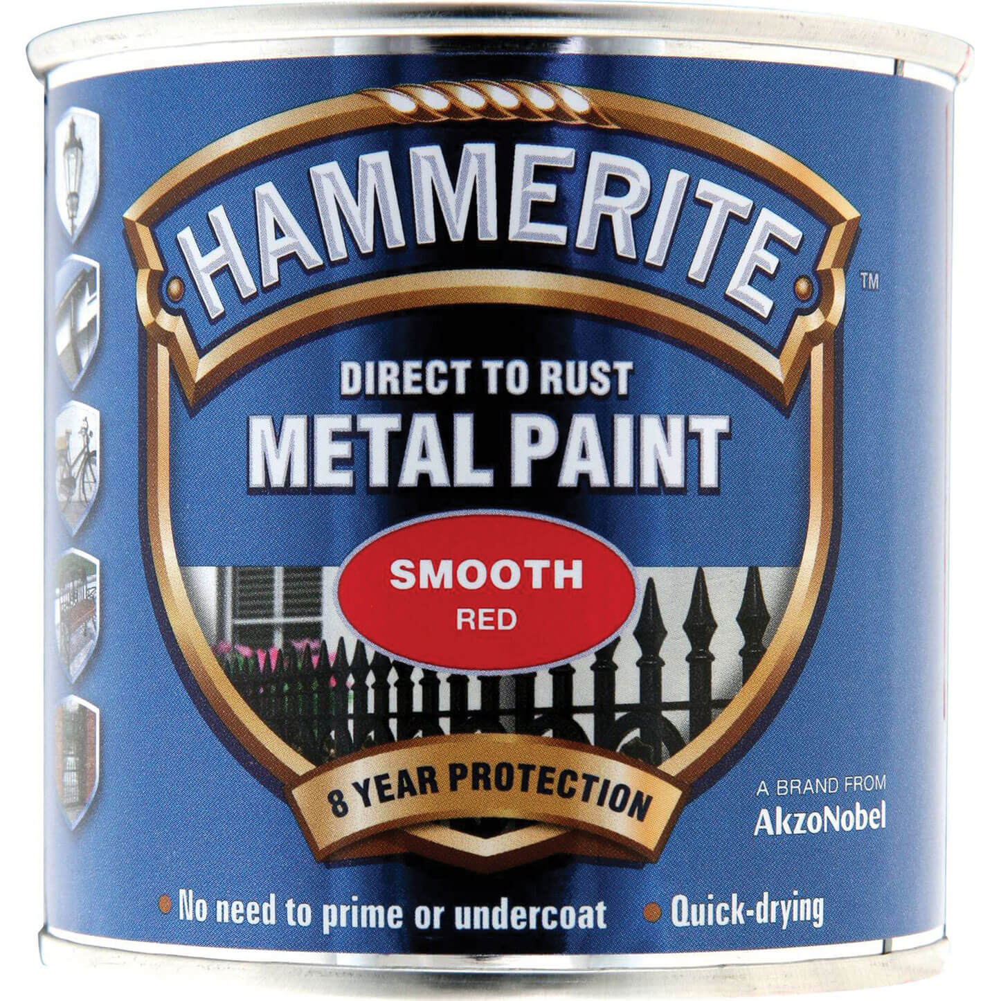 Image of Hammerite Smooth Finish Metal Paint Red 250ml