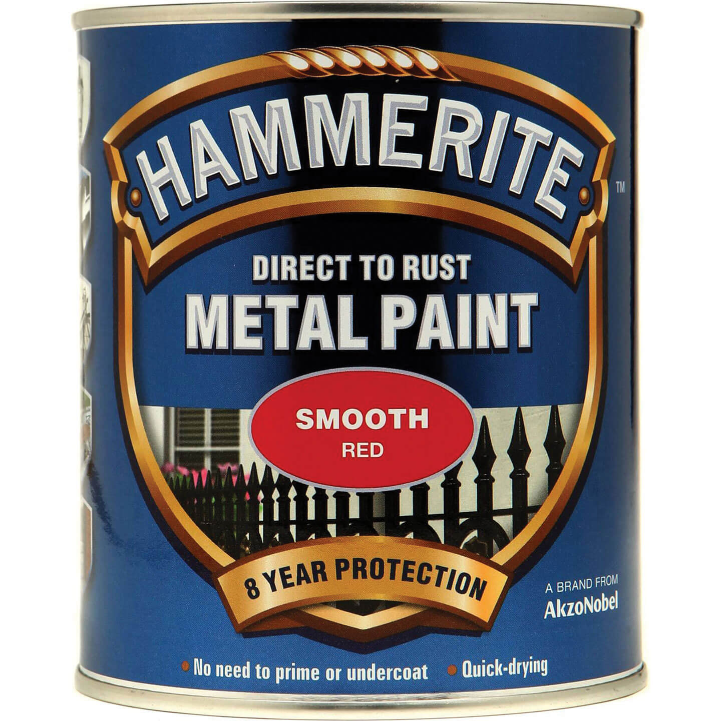 Image of Hammerite Smooth Finish Metal Paint Red 750ml