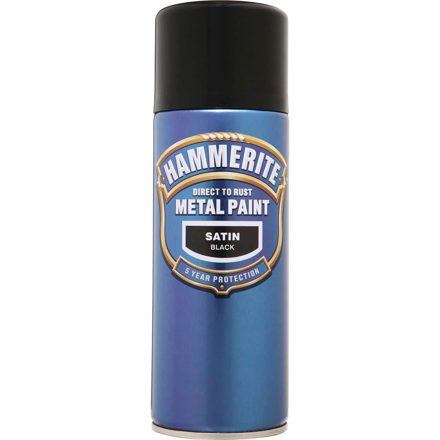 Image of Hammerite Smooth Finish Aerosol Metal Paint Satin Black 400ml