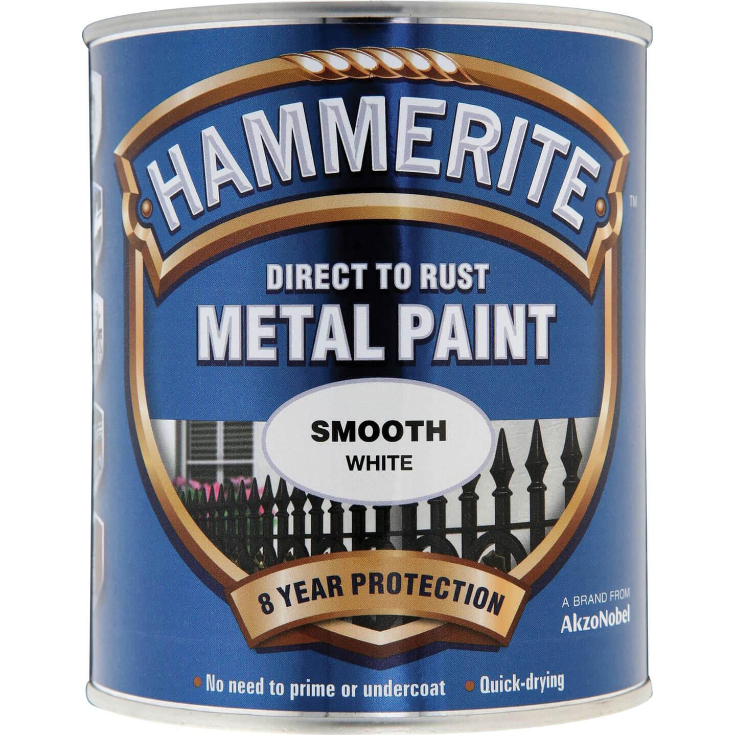 Image of Hammerite Smooth Finish Metal Paint White 750ml