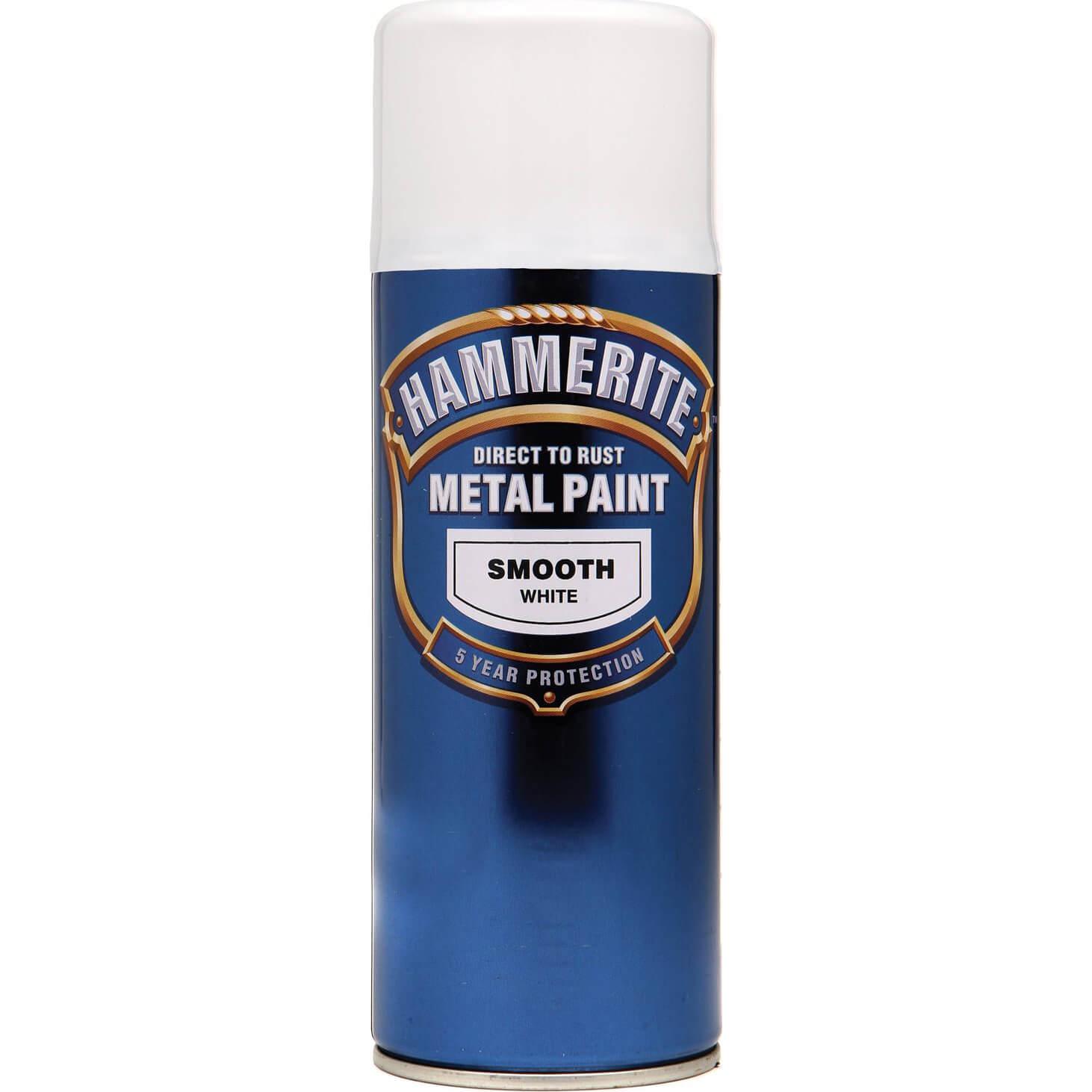 Image of Hammerite Smooth Finish Aerosol Metal Paint White 400ml