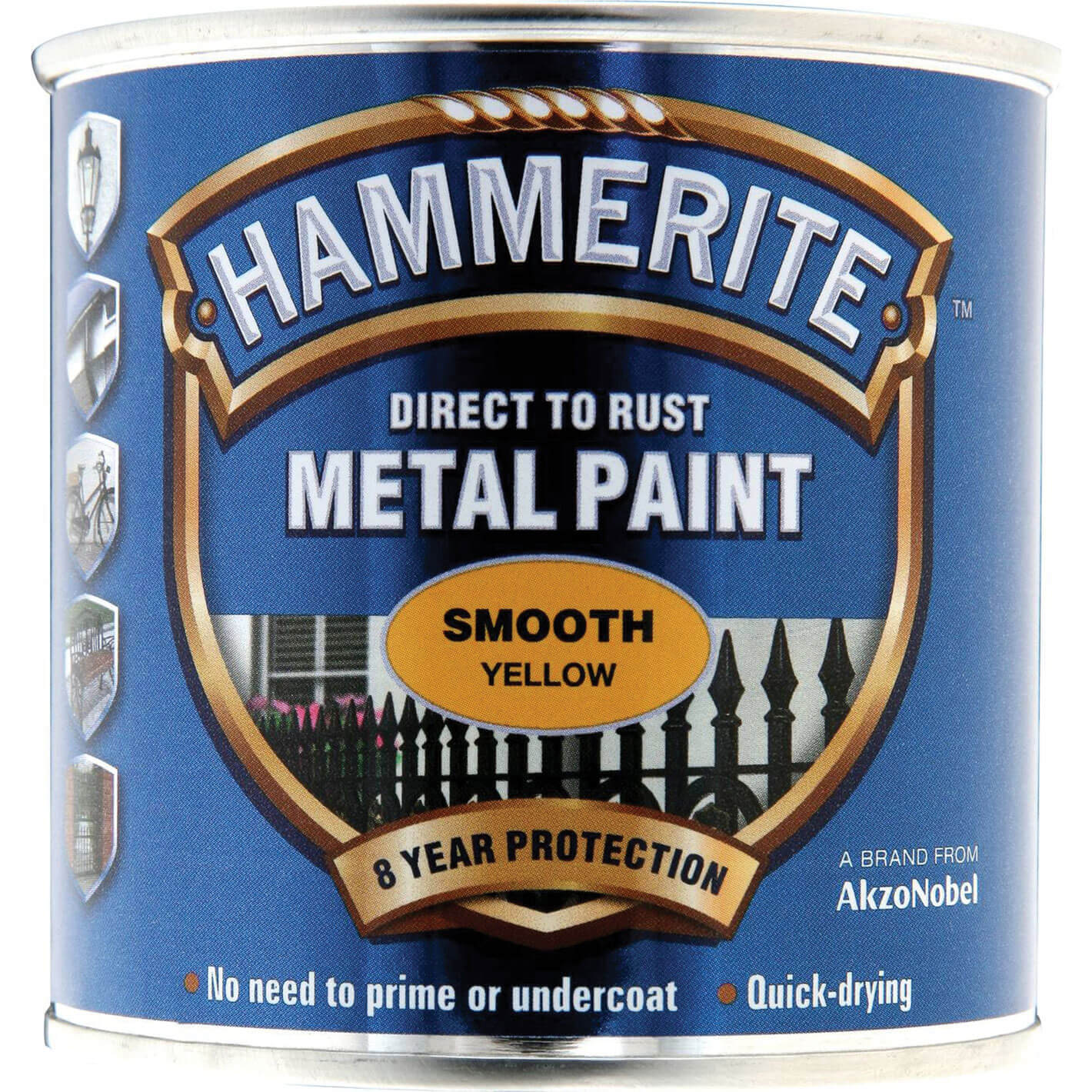 Image of Hammerite Smooth Finish Metal Paint Yellow 250ml