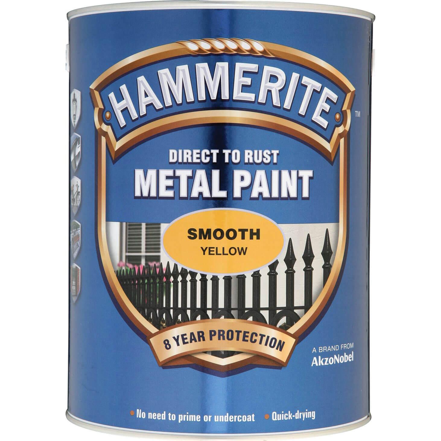 Image of Hammerite Smooth Finish Metal Paint Yellow 5000ml