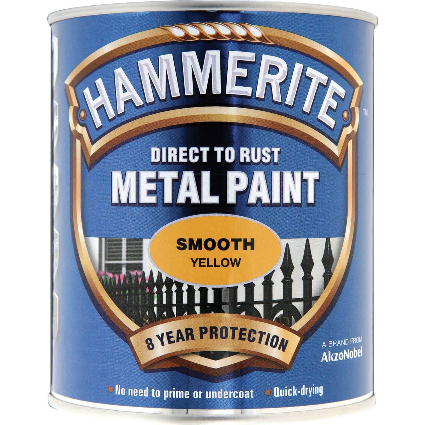Image of Hammerite Smooth Finish Metal Paint Yellow 750ml