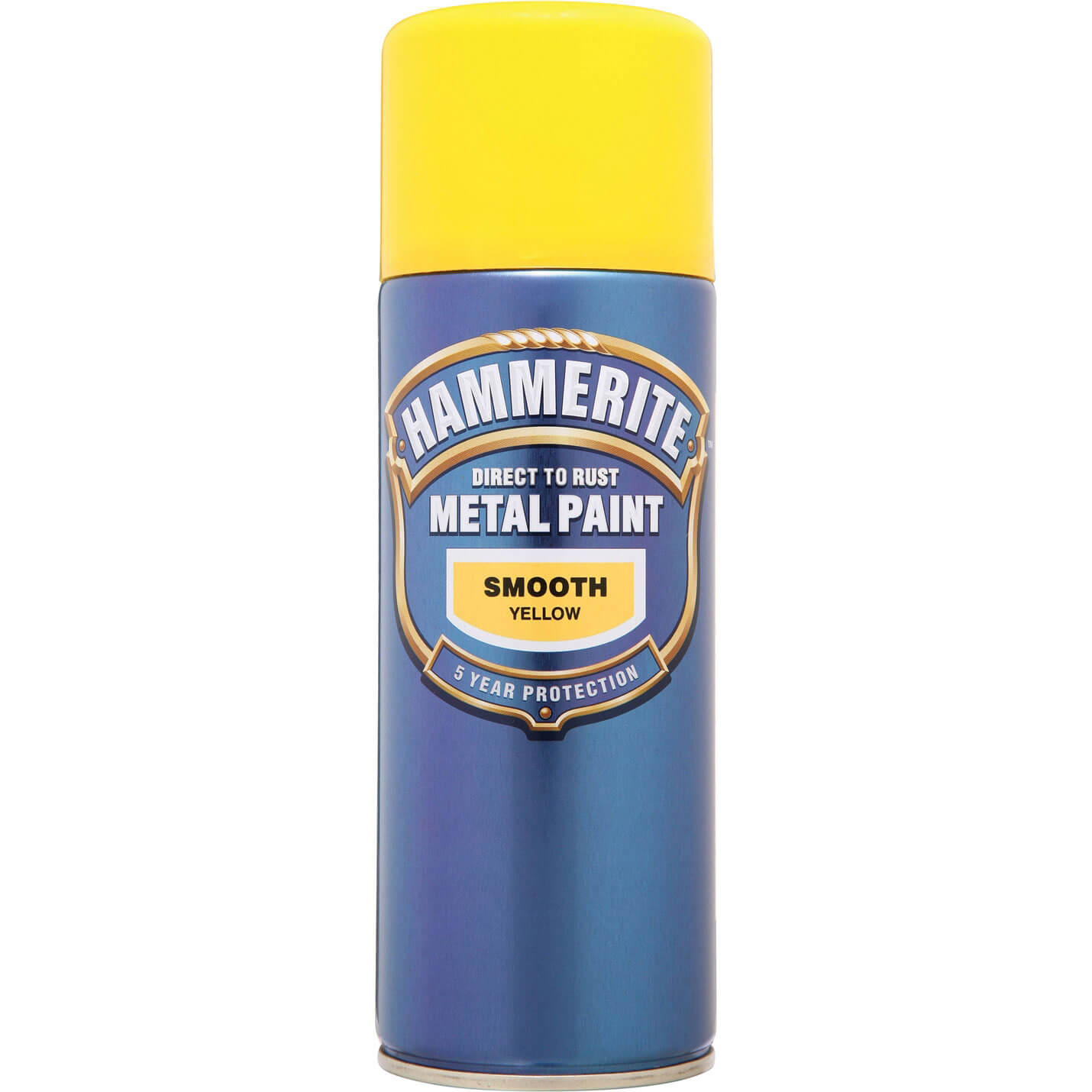 Image of Hammerite Smooth Finish Aerosol Metal Paint Yellow 400ml
