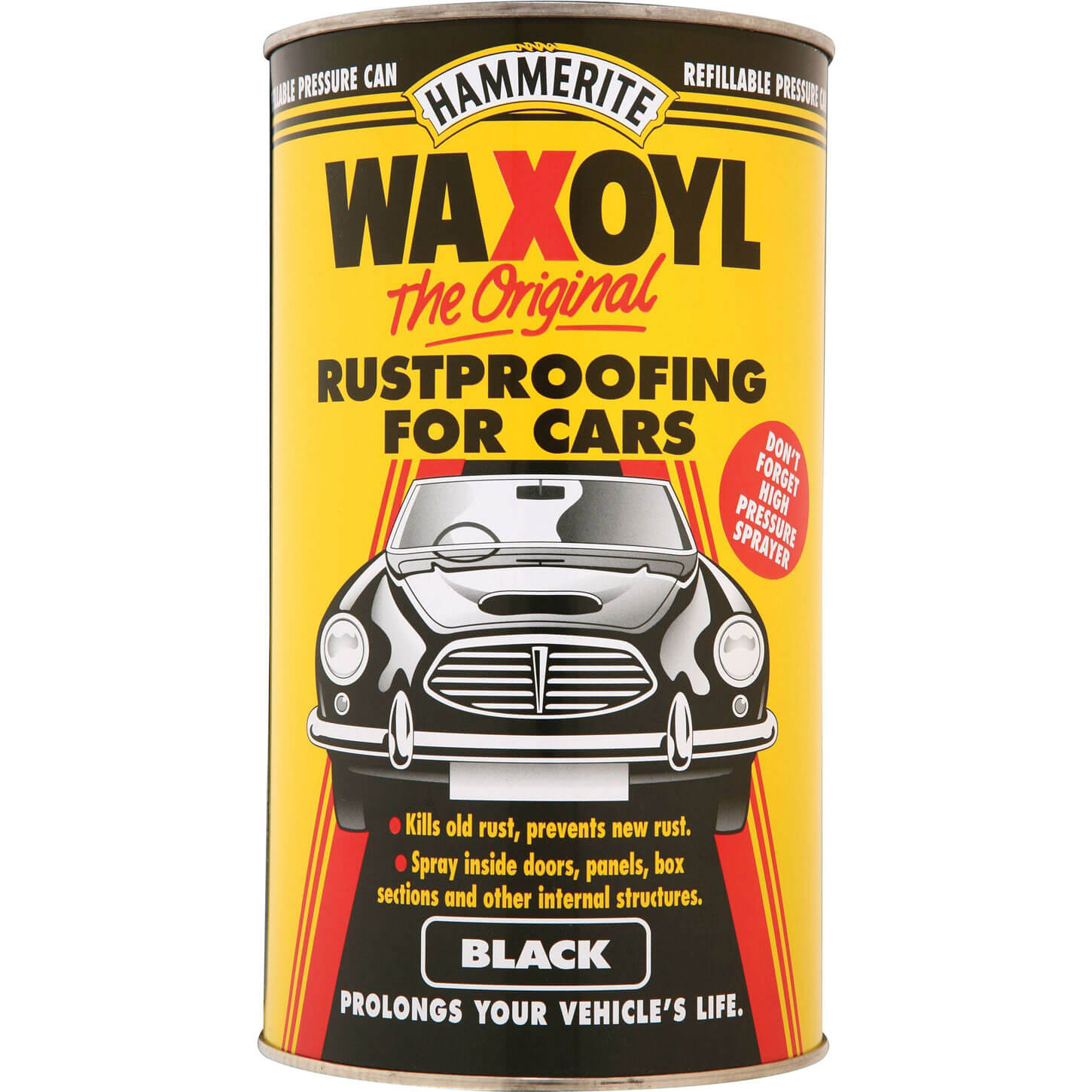 Image of Hammerite Waxoyl Rust Remover and Protector Pressure Can Black 2.5l