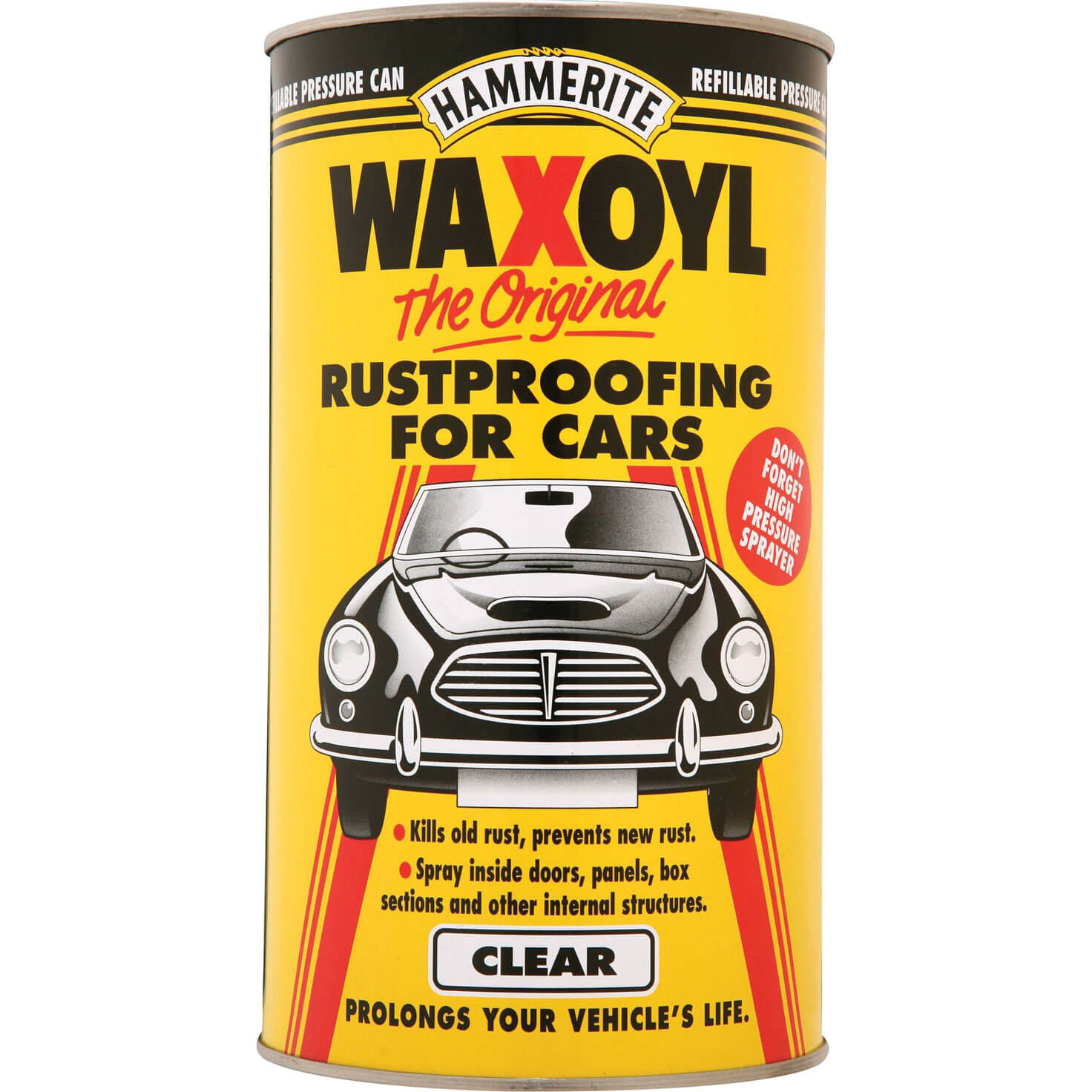 Image of Hammerite Waxoyl Rust Remover and Protector Pressure Can Clear 2.5l
