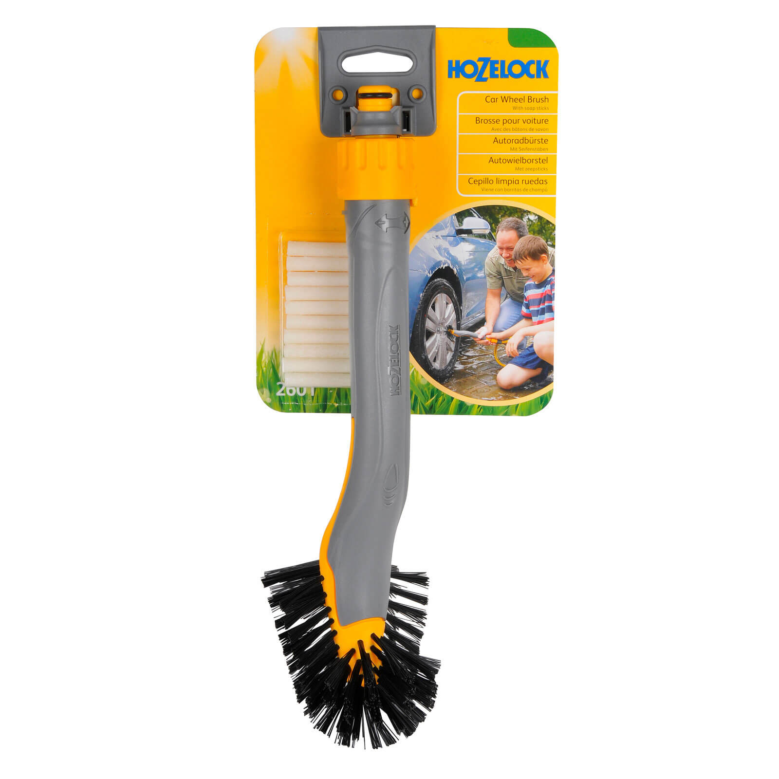 Image of Hozelock Car Wheel Hose Pipe Wash Brush