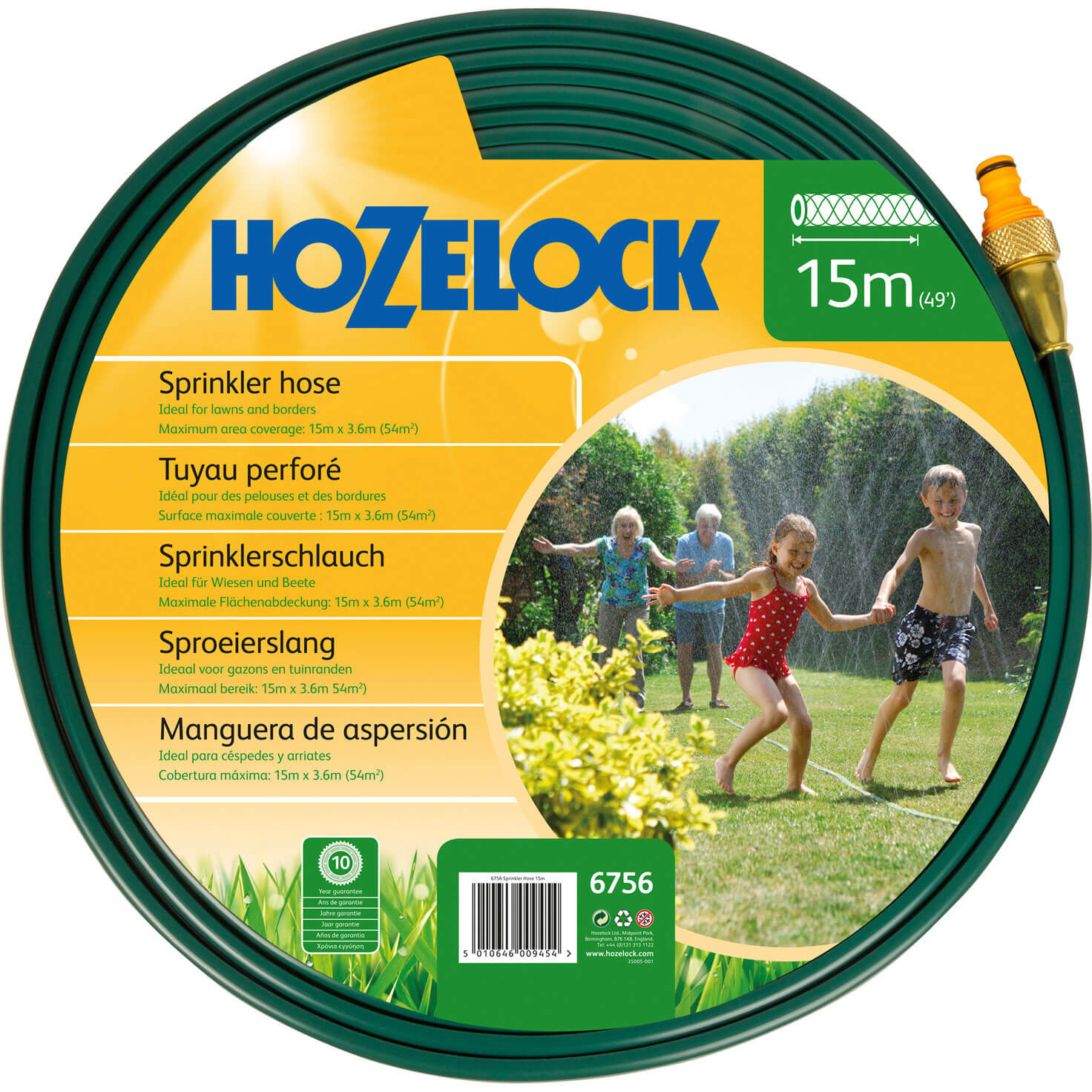 Hozelock Flat Water Sprinkler & Soaker Hose Pipe 15m