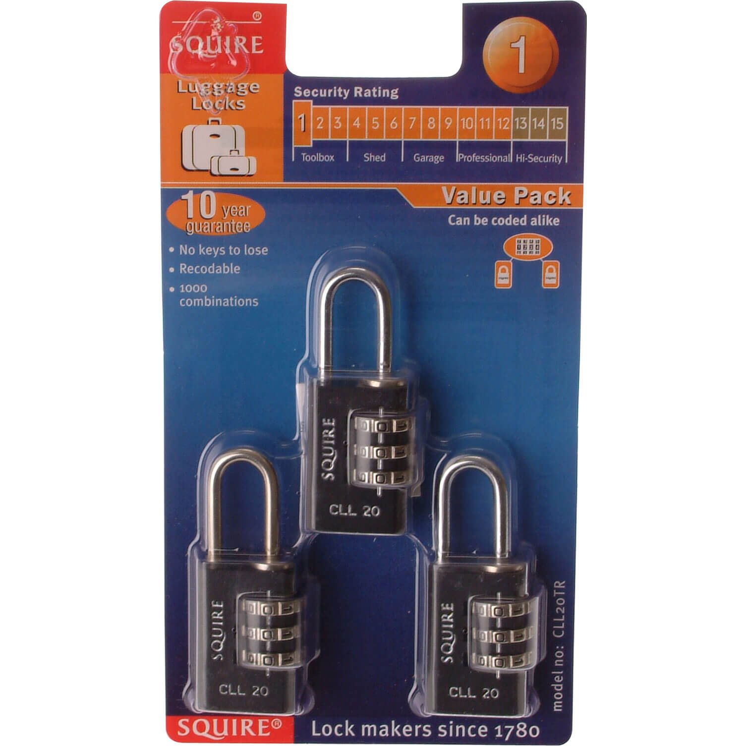 Image of Henry Squire Combination Padlock Pack of 3 20mm Standard