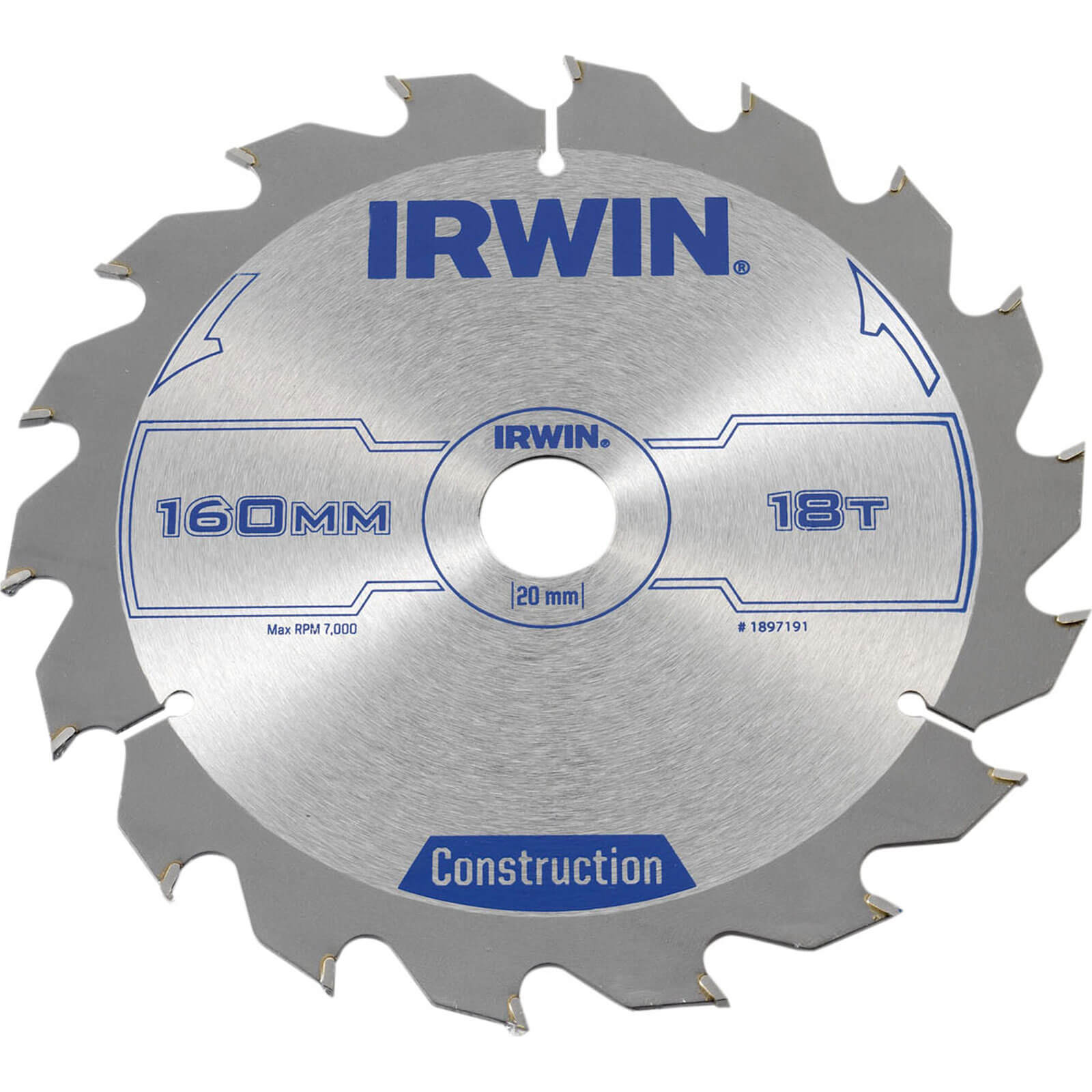 Image of Irwin ATB Construction Circular Saw Blade 160mm 18T 20mm
