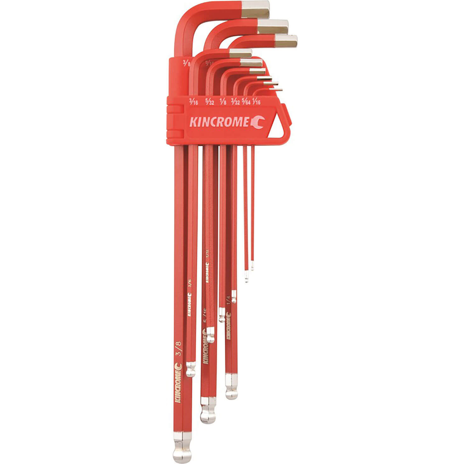 Image of Kincrome 9 Piece Ball End Hex Key Set Long Series Imperial