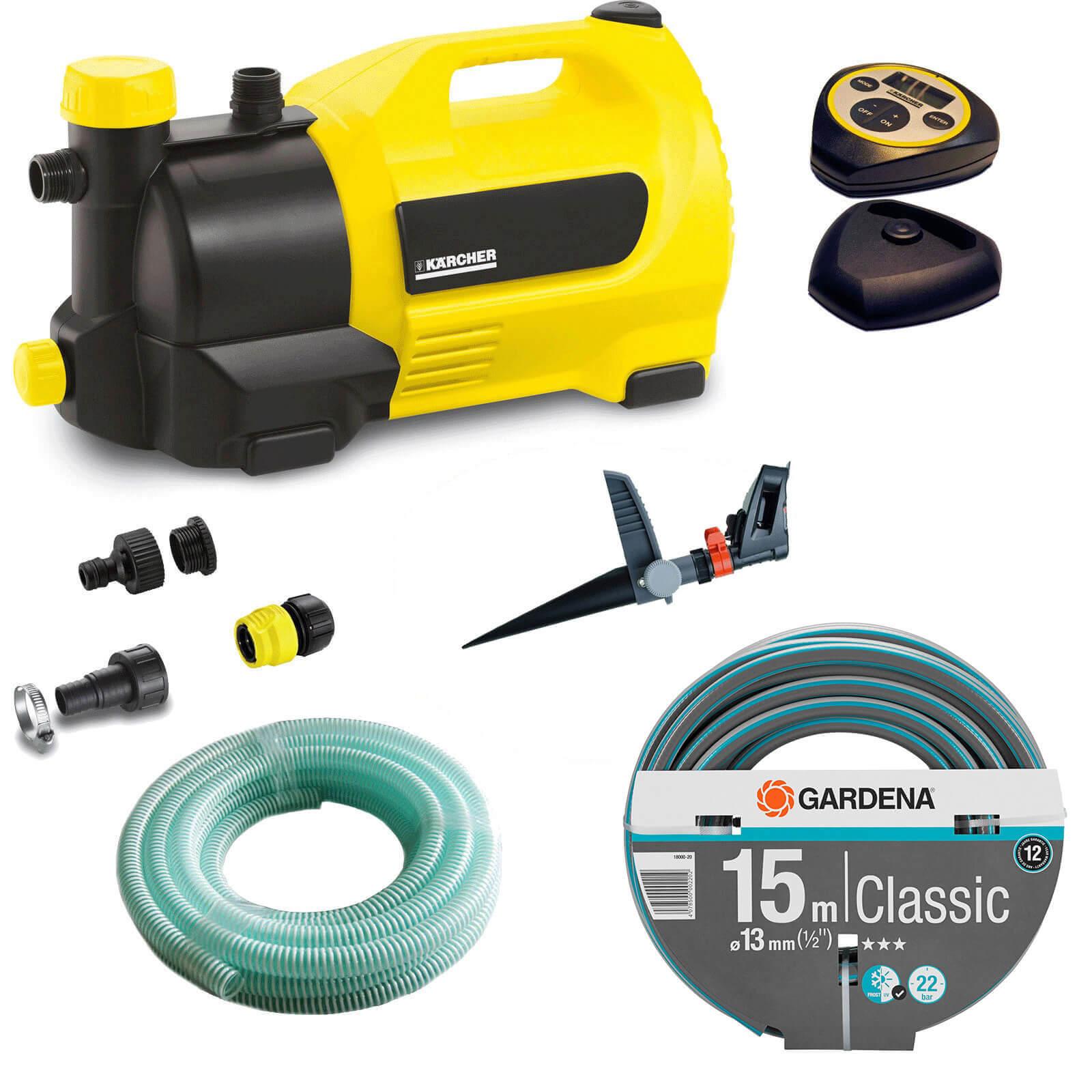 Karcher GP 50 MC Surface Water Pump with Garden Hose & Pulsating Sprinkler Kit 240v