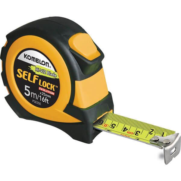 Image of Komelon Self Lock Evolution Tape Measure Imperial & Metric 16ft / 5m 25mm