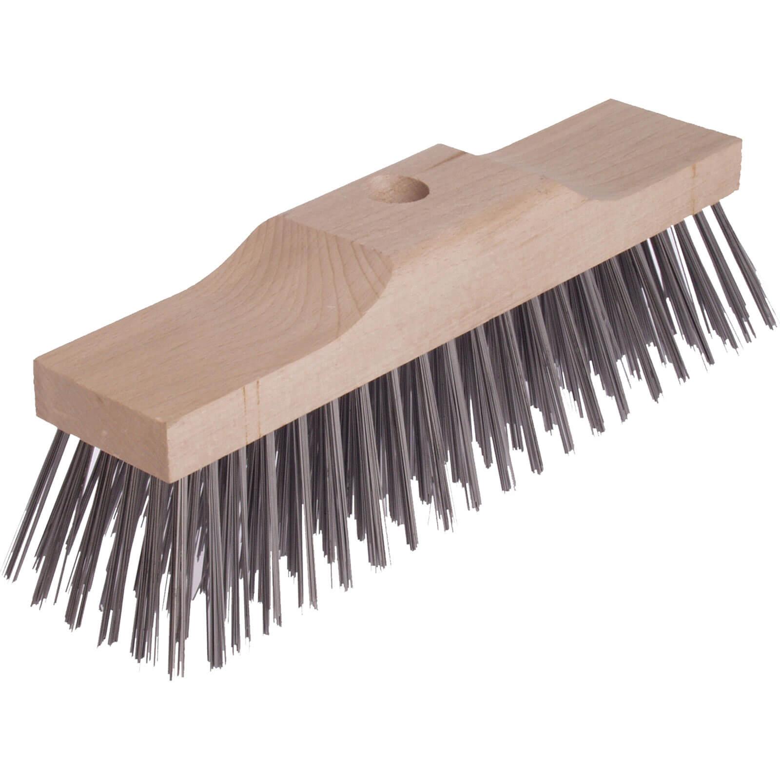 "Lessmann Stiff Wire Bristle Broom Head 12"""