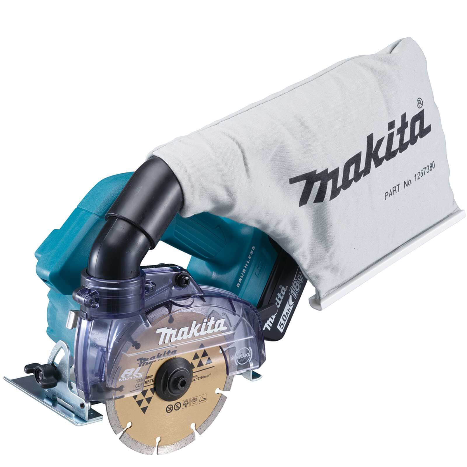 Makita DCC500 18v LXT Cordless Brushless Disc Cutter 125mm 2 x 5ah Li-ion Charger Case