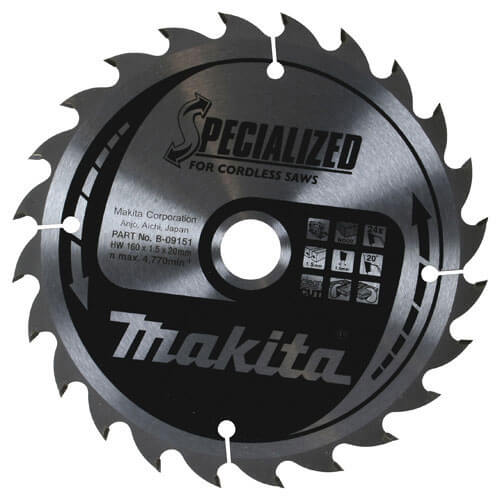 Image of Makita SPECIALIZED Cordless Wood Cutting Saw Blade 136mm 24T 10mm