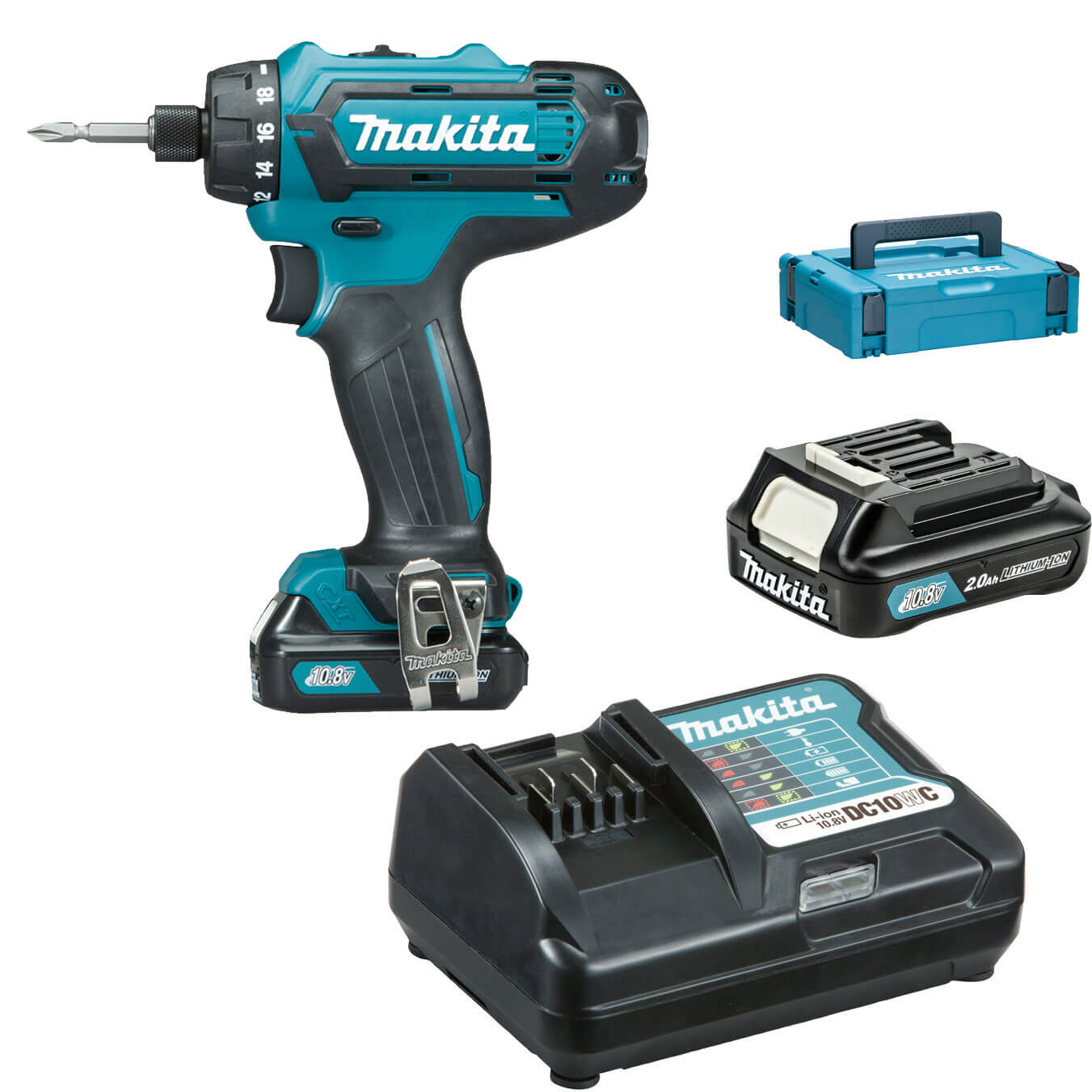 makita df031dwae cordless cxt drill driver with 2 li ion batteries 2ah tooled. Black Bedroom Furniture Sets. Home Design Ideas