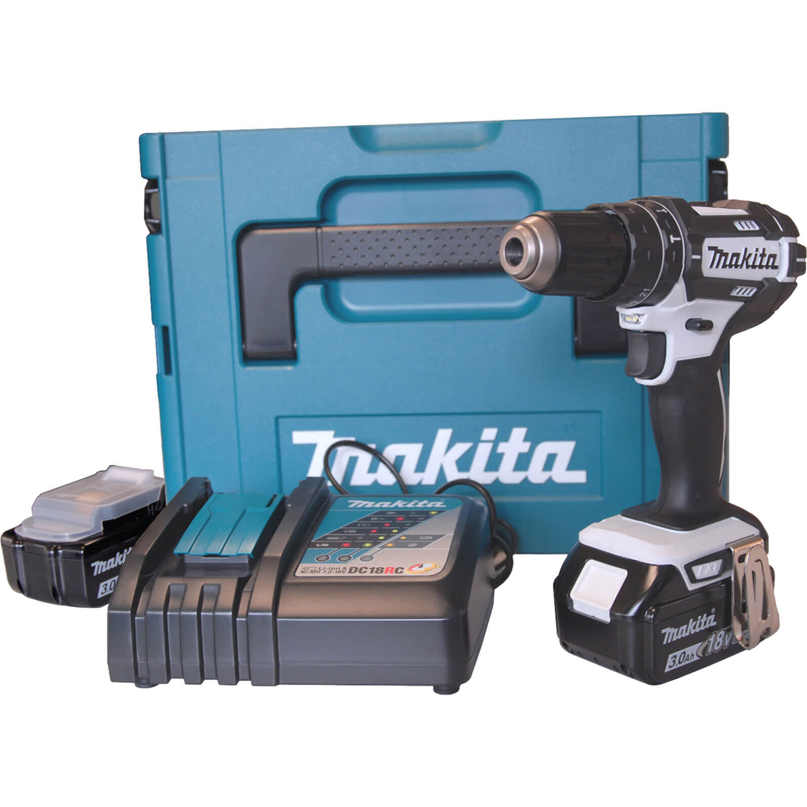 makita cordless 18v li ion combi drill 2 batteries. Black Bedroom Furniture Sets. Home Design Ideas