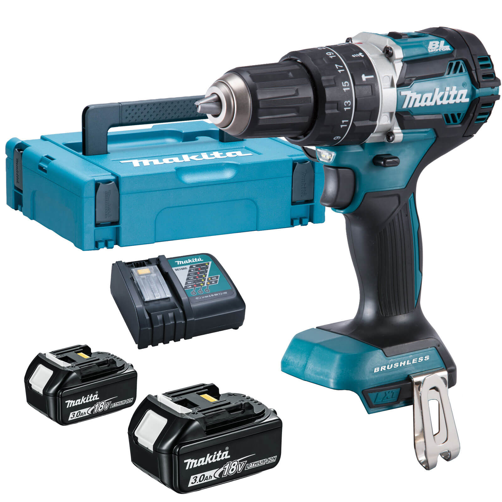 makita dhp484 18v cordless lxt brushless combi drill 2 x. Black Bedroom Furniture Sets. Home Design Ideas