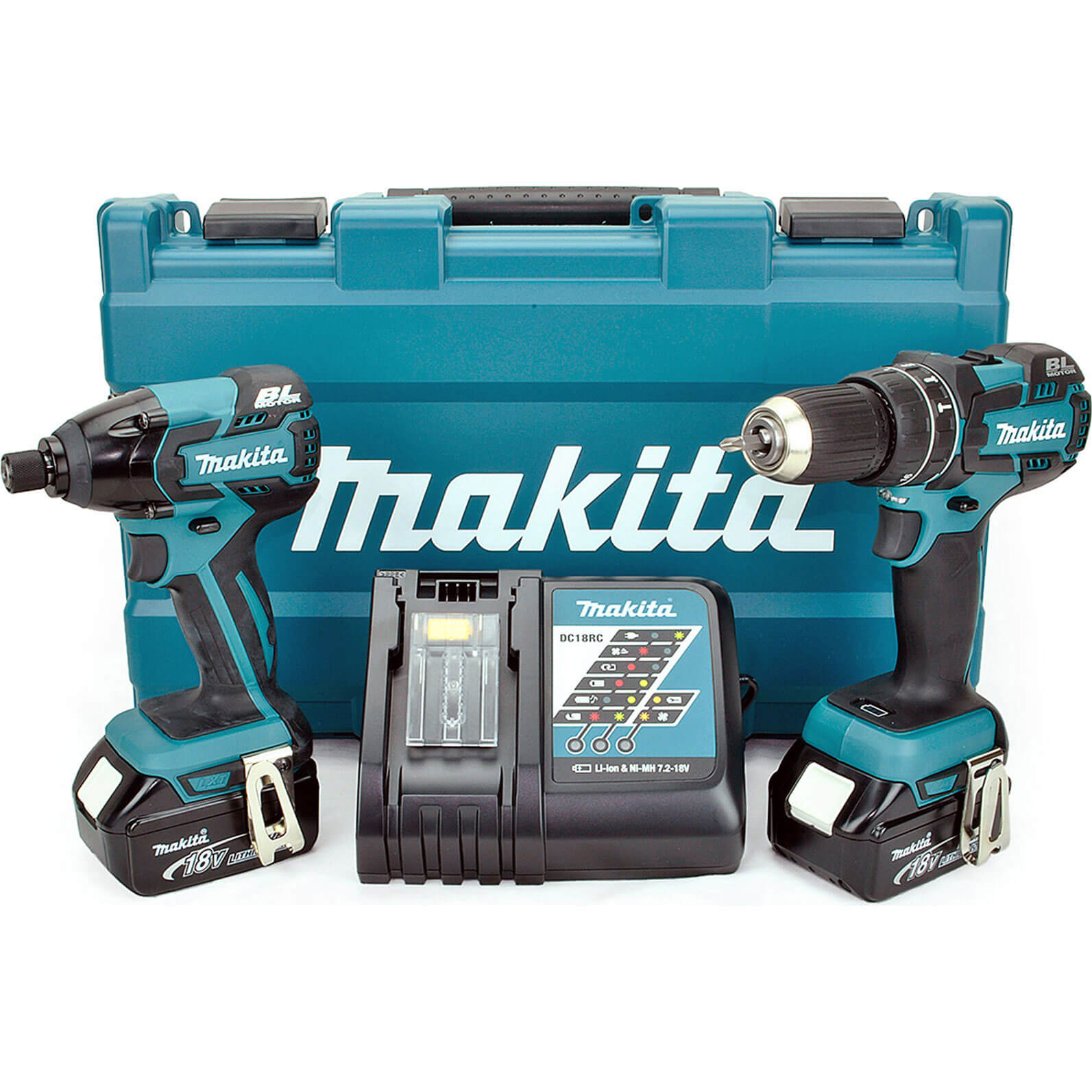 Makita DLX2002M 18V LXT Cordless Brushless Combi Drill & Impact Driver 2 x 4ah Liion Charger Case