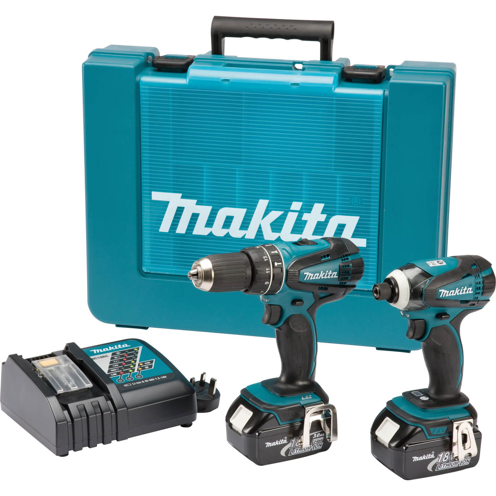 Image of Makita DLX2012 18v Cordless LXT Combi Drill & Impact Driver Kit 2 x 3ah Li-ion Charger Case
