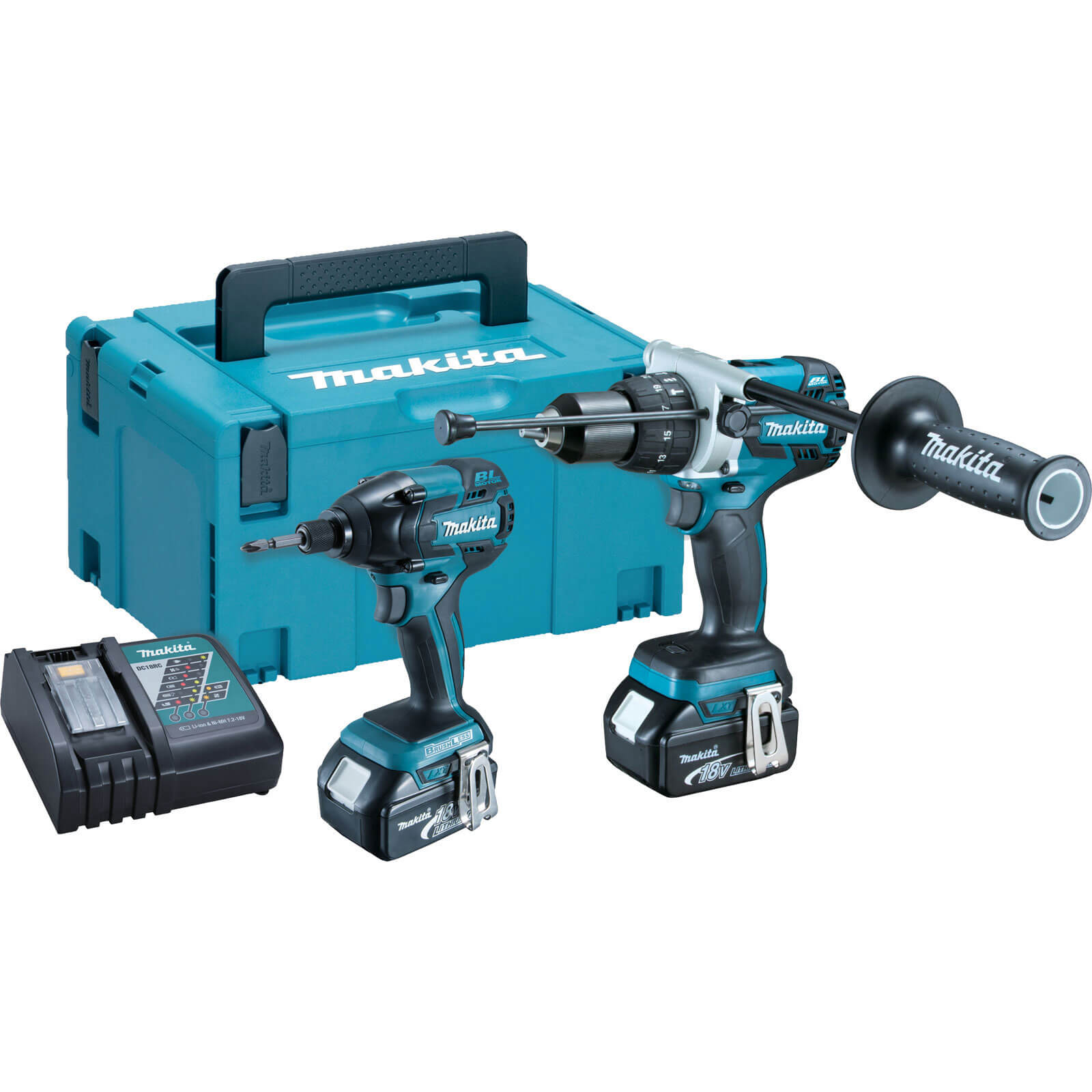 Makita DLX2040MJ 18V LXT Cordless Brushless Combi Drill & Impact Driver 2 x 4ah Liion Charger Case