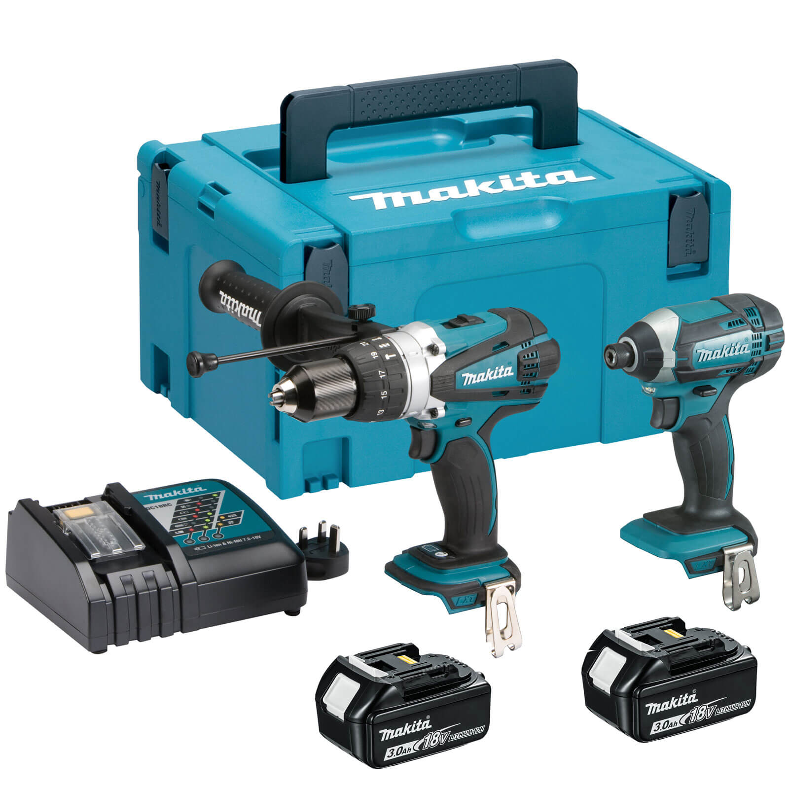 makita dlx2145 18v cordless lxt combi drill impact driver kit 2 x 3ah li ion charger case. Black Bedroom Furniture Sets. Home Design Ideas
